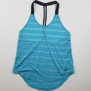 Nike Womens Blue and Black Racer back tank top xs